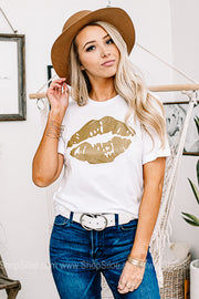 Pucker Up Gold Lips Graphic Tee