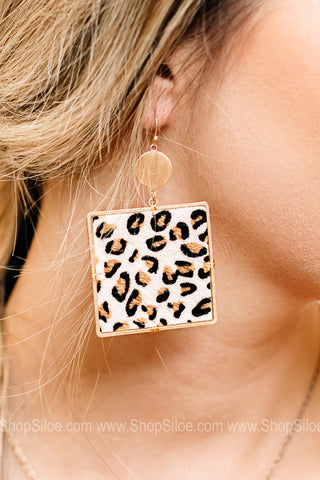 Remmi Square Animal Print Earring | Ivory Leopard