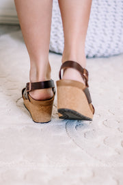 Samira Wedge Sandal | Natural Leather Cognac | Papillio By Birkenstocks| Narrow