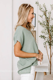 Sea Side Breeze Textured Boxy Tops | Jade