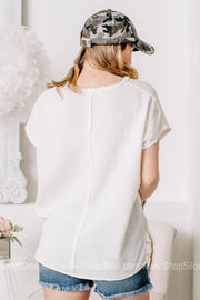 Sea Side Breeze Textured Boxy Tops | White