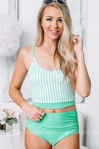Sea You Soon Knotted Button Back Swimsuit Top | Teal