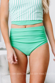 Sea You Soon Midi Ruched Swimsuit Bottoms | Teal