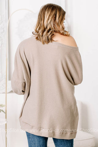 Show Them The Way Soft Knit Waffle Top | Taupe