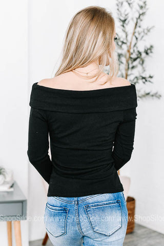 Slim Black Off The Shoulders Top