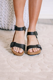Soley Wedge Sandal | Natural Leather Black | Papillio By Birkenstocks| Narrow