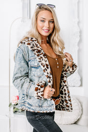Taking On The Day Cheetah Lined Denim Jacket