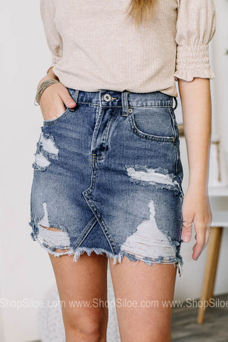 Up For The Chase Distressed Denim Skirt