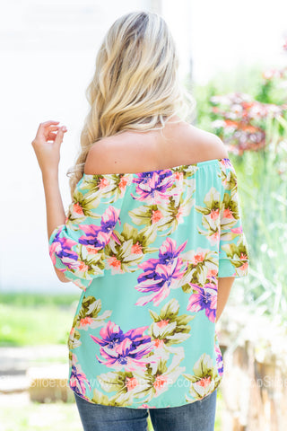 Vacay Neon Double Flutter Knot Top