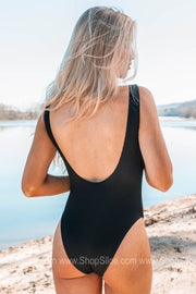 Where The Sea Takes Me Ribbed One Piece Swimsuit