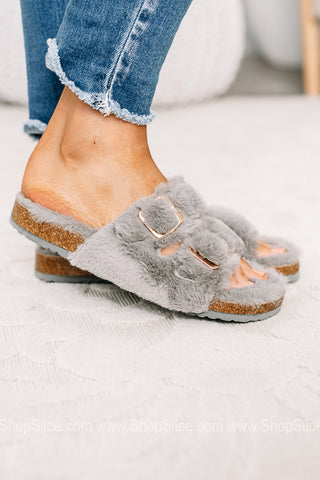 Where Time Stands Still Fuzzy Slippers | Grey