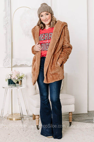 Who You Are Open Front Sherpa Cardigan | Camel
