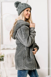 Who You Are Open Front Sherpa Cardigan | Grey