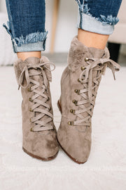 Wishful Thinking Lace Up Wedge Heel Booties
