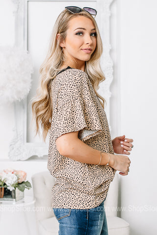 Your Wonderful Ways Spotted Ruffle Sleeve Top