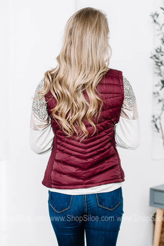 Zip-up Wine Turtleneck Vest