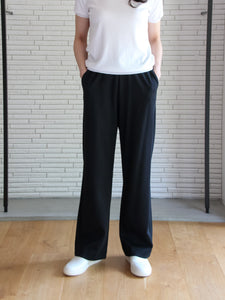 TL-6115 / Strech Cardboard Wide Pants / Black