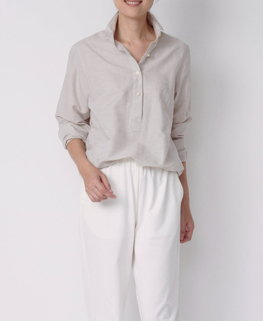 TL-3219 / Linen Cotton  Small Collar Relax Shirt