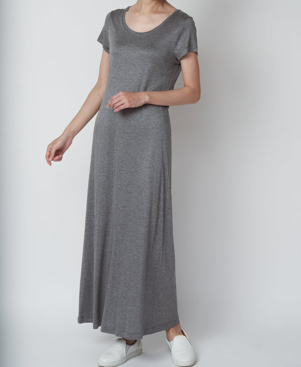 TL-8178 / Viscose Smooth Short Sleeve Long Onepiece