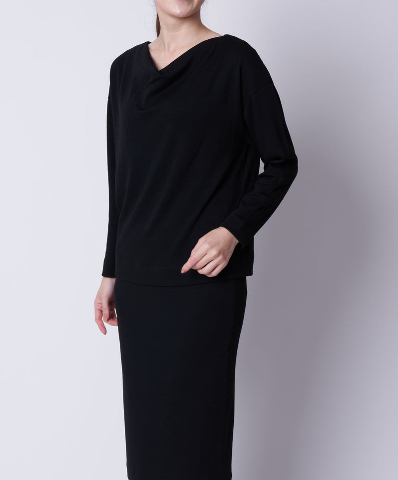 TL-9155 / Wool Punch Drape Neck Pullover