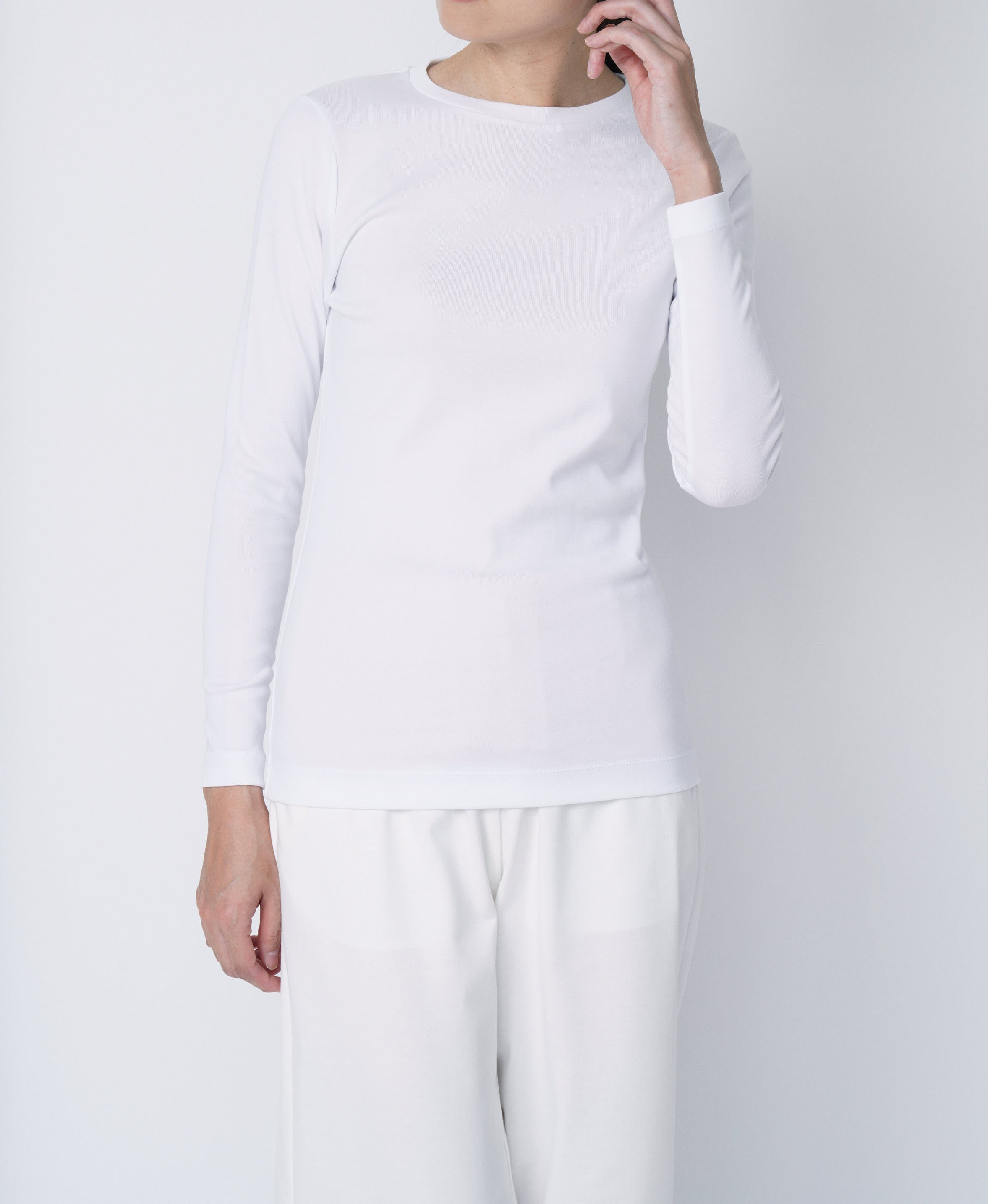 TL-9208 / Tight Milling Small Neck Long Sleeve T Shirt