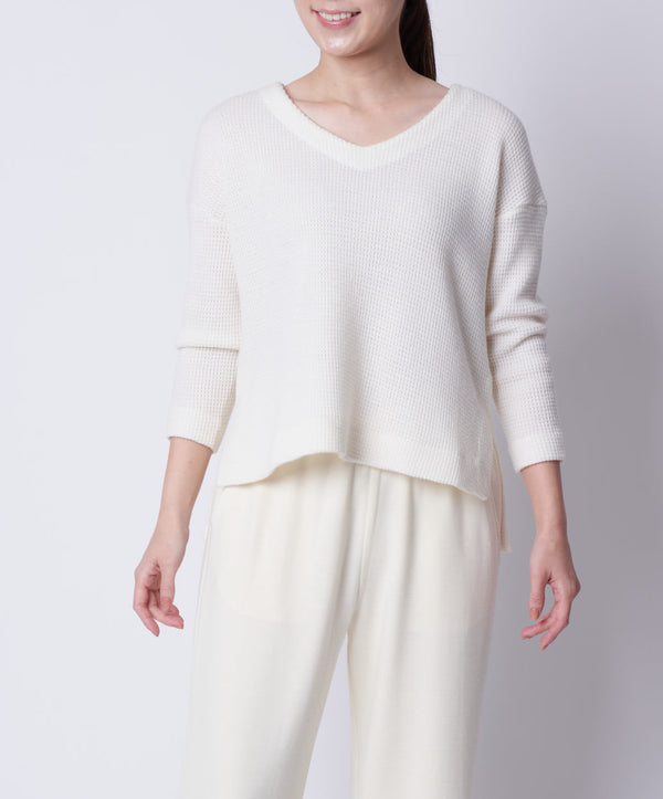 TL-9216 /Wool Waffle V Neck Pullover