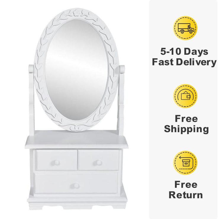 Modern vanity cabinet with mirror Oval-shaped for Bedroom