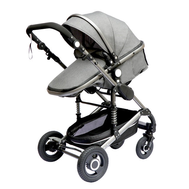 Luxurious Baby Stroller 3 in 1 Portable Travel Baby Carriage Folding Prams Aluminum Frame High Landscape Car for Newborn Baby