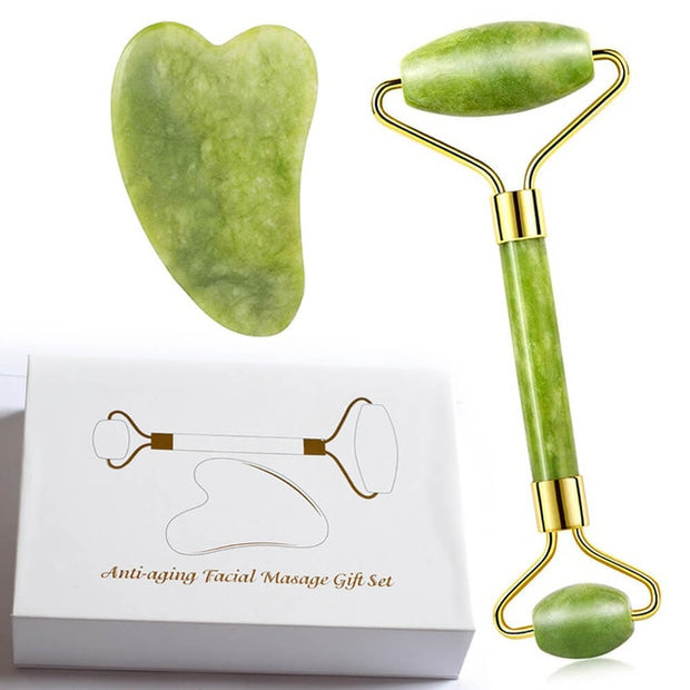 Facial Massage Roller Double Heads Jade Stone