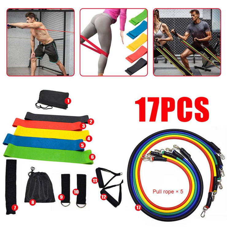 17 Pcs/Set Latex Resistance Bands Crossfit Training Exercise Yoga Tubes Pull Rope,Rubber Expander Elastic Bands Fitness with Bag