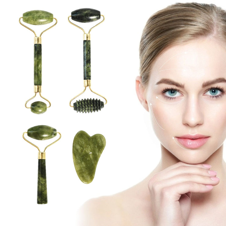 Facial Massage Roller Double Heads Jade Stone Face Lift