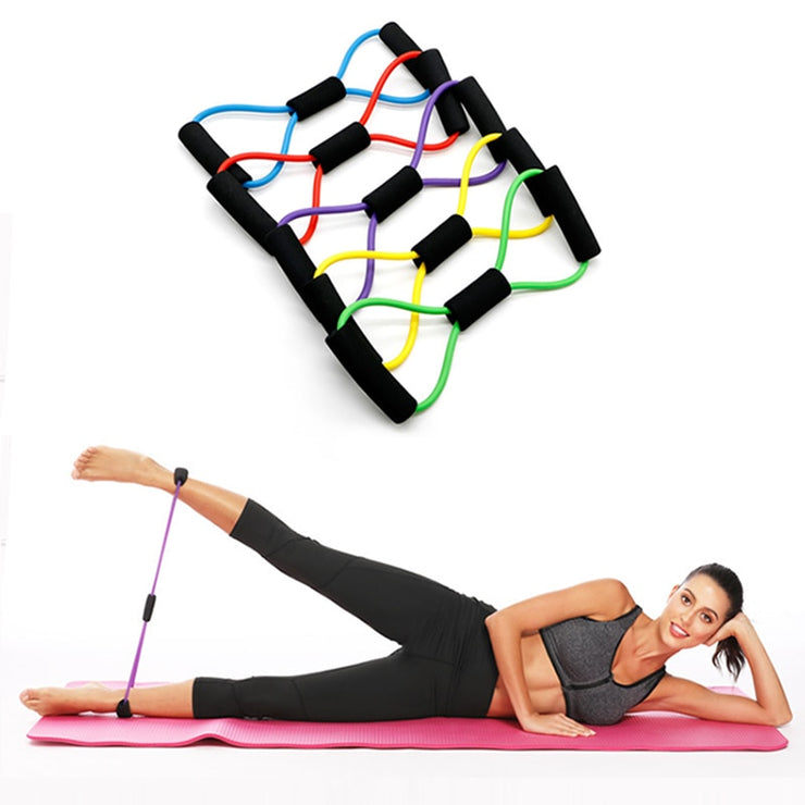 Fitness Rope Resistance Bands 8 Word Rubber Bands