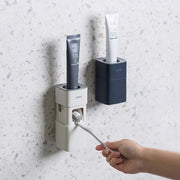 Hot New Auto Squeezing Toothpaste Dispenser Wall-mount Toothbrush Holder Toothbrush Toothpaste Cup Storage Bathroom Accessories