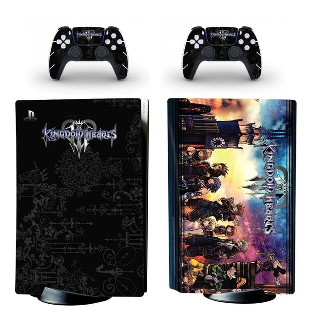 Kingdom Hearts PS5 Standard Disc Edition Skin Sticker Decal Cover for PlayStation 5 Console and 2 Controllers PS5 Skin Sticker