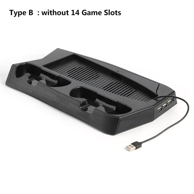 For PS5 Vertical Cooling Fan Stand Digital Edition with 14 Game Slot 3 Hub Port Dual Controller Charging Station Charger for PS5
