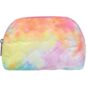 Cotton Candy Heart Quilted Oval Cosmetic Bag