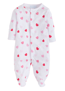 Hearts Printed Footie Pajamas