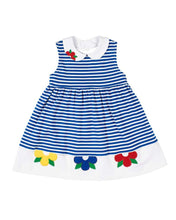 Load image into Gallery viewer, Royal Stripe Knit Dress with Flowers
