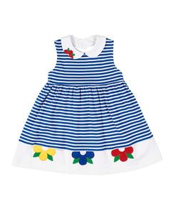 Royal Stripe Knit Dress with Flowers