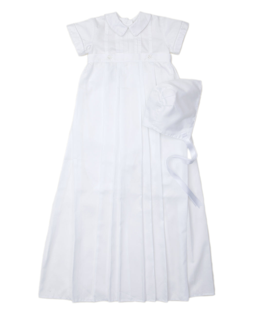 Aiden Short Sleeve Christening Gown And Hat Set