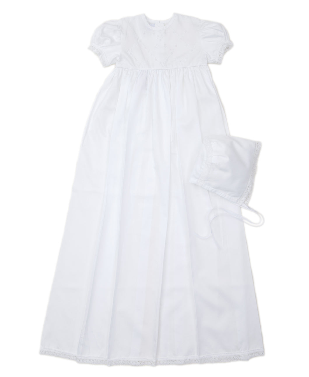 Annalise Short Sleeve Christening Gown And Hat Set