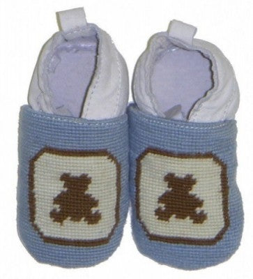 Bear Needlepoint Baby Booties