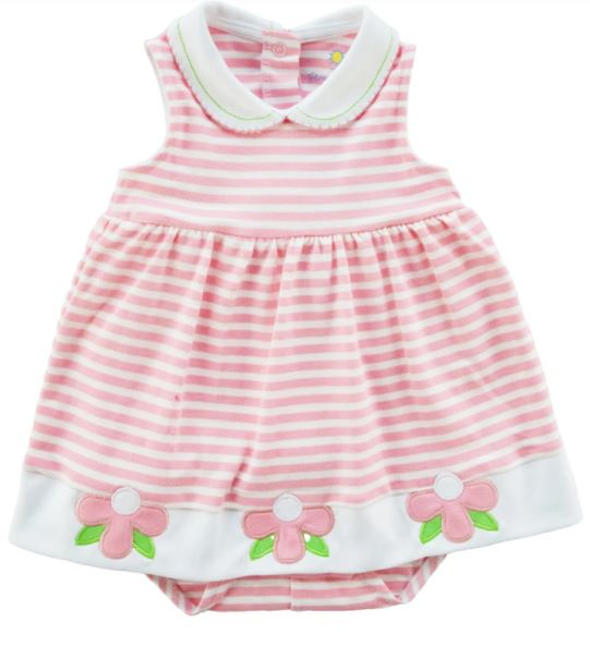 Pink Stripe Knit Skirted Romper With Flowers