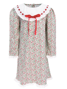 Christmas Floral Long Sleeve Emersyn Dress With Lace And Ribbon Trim