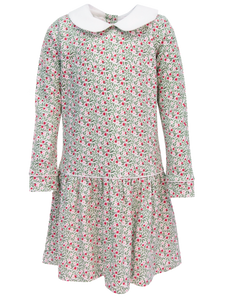Christmas Floral Long Sleeve Lillian Dress With Peter Pan Collar