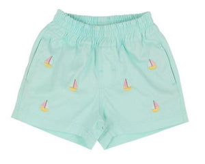 Critter Sheffield Shorts - Sea Island Seafoam With Sailboat & Butter Yellow Stork