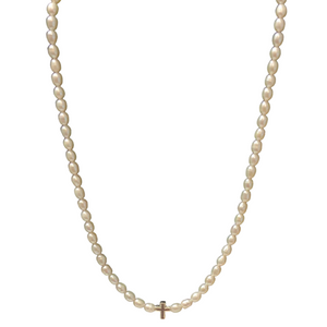 "13"" Rice Pearl Necklace With Cross"