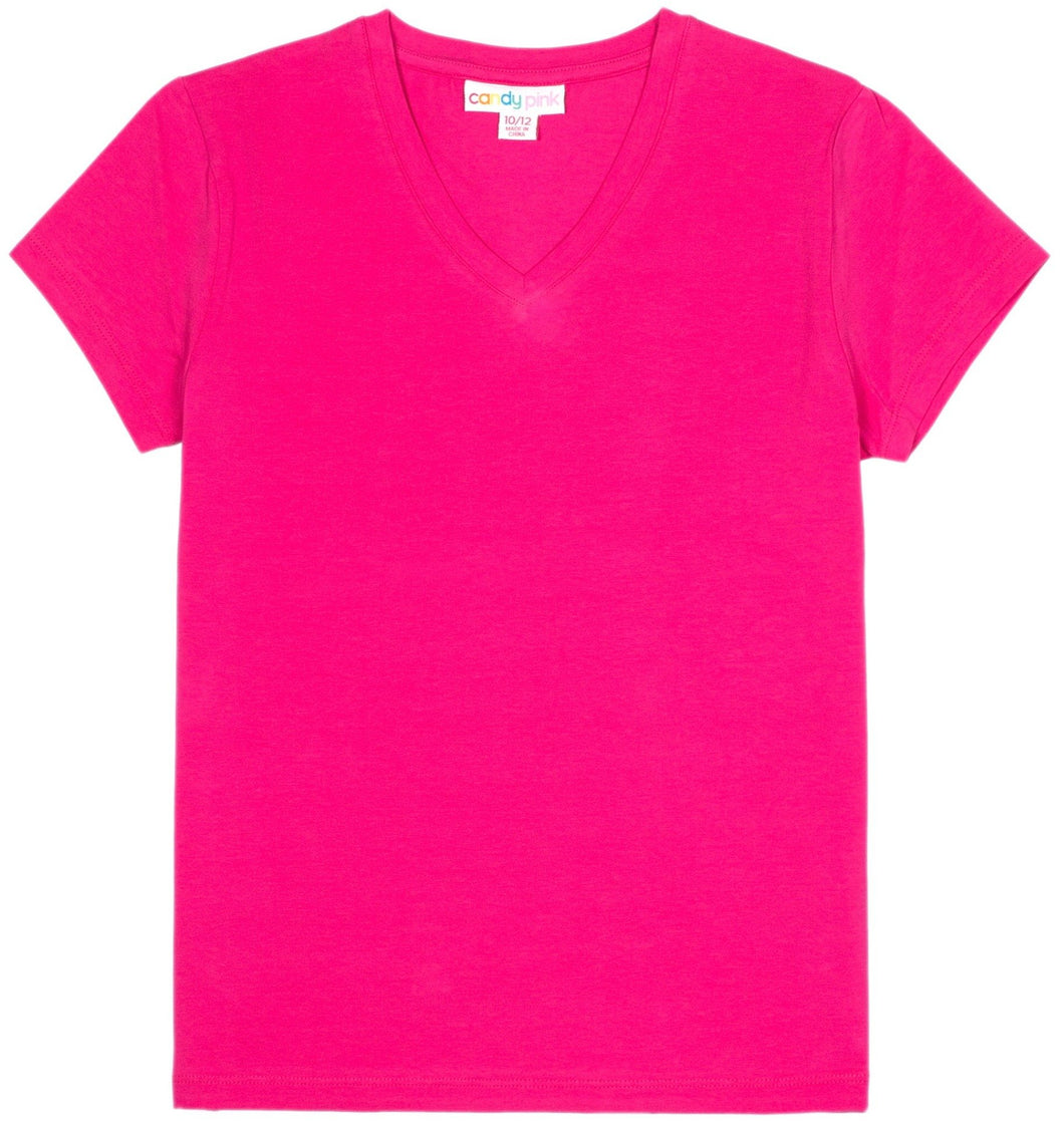 Hot Pink V-Neck T-Shirt