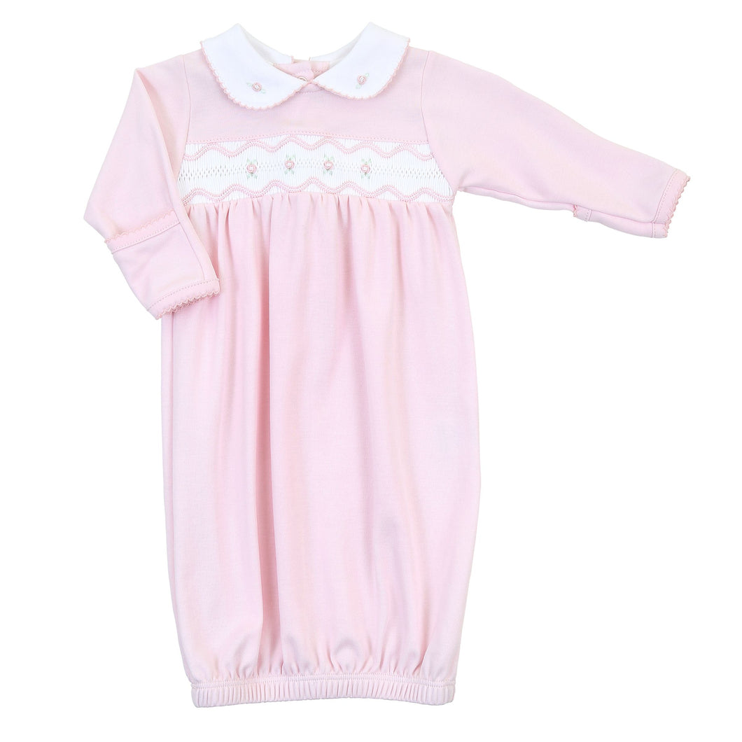 Cora & Cole's Classic Smocked Collared Pink Gown