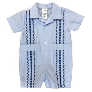 Light Blue & White Stripe Guayabera Romper